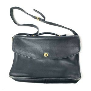 Coach Black Leather Map Bag Messenger Bag
